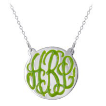 Sterling Silver Enamel Engraved Monogram Necklace - Script