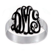 Sterling Silver Enamel Monogram Ring - Script