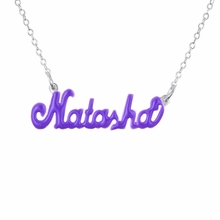 Sterling Silver Enamel Name Necklace - Script