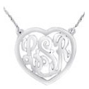 Sterling Silver Heart Monogram Necklace - Script