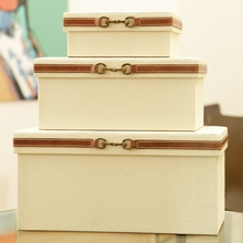 Stirrup Detail Boxes in Canvas and Brown Leather