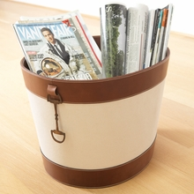 Stirrup Detail Log Holder in Canvas and Brown Leather