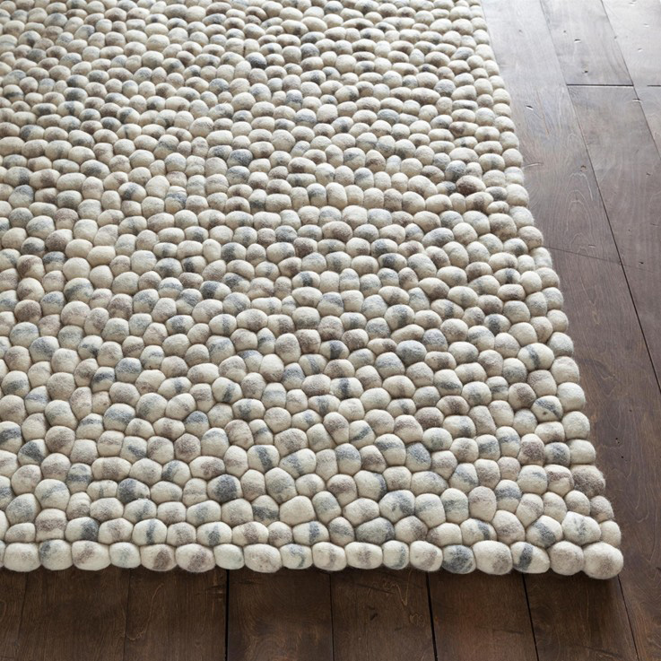District17 Stones Wool Ball Rug In Light Gray Natural