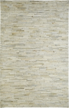 Stripe Leather Rug in White