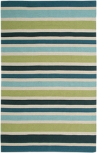 Striped Flat Weave Rug in Green and Blue