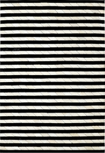 Striped Leather Rug in Ivory and Black