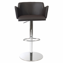 Sunny Bar and Counter Chair in Brown Leatherette and Chrome