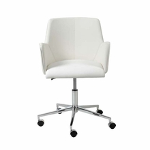 Sunny Office Chair in White Leatherette and Chrome