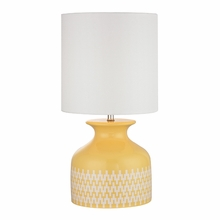 Sunshine Yellow Ceramic Table Lamp With Linked Ring Pattern And White Shade