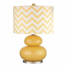 Sunshine Yellow Glass Table Lamp With Chevron Pattern Shade