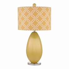 Sunshine Yellow Glass Table Lamp With Linked Ring Printed Shade