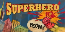 Superhero Pow Skyline Canvas Wall Art