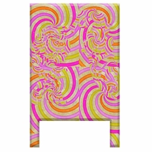 Swirls Magenta Floral Headboard Wall Decal for Twin Bed
