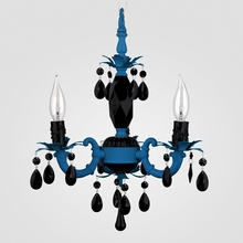 Tahlia Neon Blue Black Crystal Chandelier