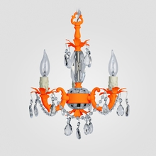Tahlia Neon Orange Clear Crystal Chandelier