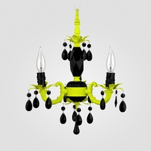 Tahlia Neon Yellow Black Crystal Chandelier
