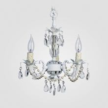 Tahlia White with Pearls Clear Crystal Chandelier