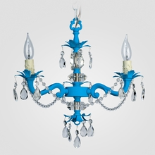 Tara Neon Blue Clear Crystal Chandelier