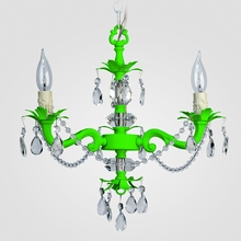 Tara Neon Green Clear Crystal Chandelier