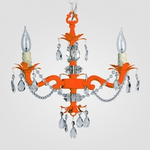Tara Neon Orange Clear Crystal Chandelier