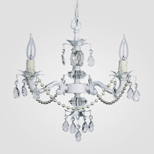 Tara White with Pearls Clear Crystal Chandelier