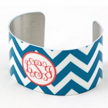 Teal and Pink Chevron Monogram Cuff Bracelet