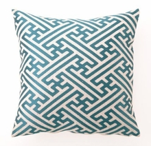 Teal Cross Hatch Linen Embroidered Pillow
