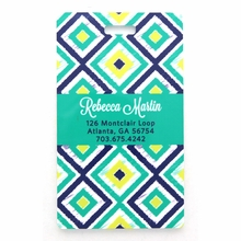 Teal Diamonds Personalized Luggage Tag Set