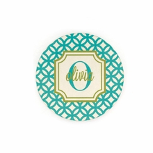 Teal Geometric Name and Initial Personalized Coaster Set