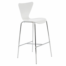Tendy Bar Chair in White and Chrome - Set of 2