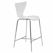 Tendy Counter Chair in White and Chrome - Set of 2