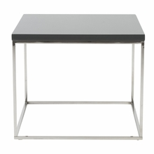 Teresa Side Table in Gray Lacquer and Polished Stainless Steel