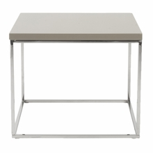 Teresa Side Table in Taupe Lacquer and Polished Stainless Steel