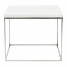 Teresa Side Table in White Lacquer and Polished Stainless Steel