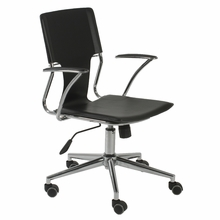 Terry Office Chair in Black Leatherette and Chrome