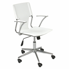 Terry Office Chair in White Leatherette and Chrome