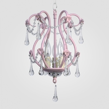 Tiffany Gloss Pink Clear Crystal Chandelier