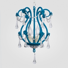 Tiffany Neon Blue Clear Crystal Chandelier