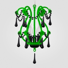Tiffany Neon Green Black Crystal Chandelier