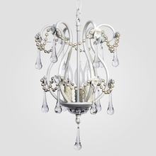 Tiffany White with Pearls Clear Crystal Chandelier