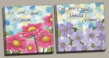 Time to Bloom and Blossom Canvas Wall Art Set