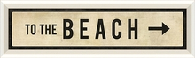 To The Beach Street Sign in White Framed Wall Art