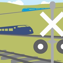 Train Crossing Canvas Wall Art