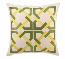 Trina Turk Geometric Tile Embroidered Green & Yellow Pillow
