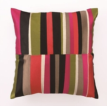 Trina Turk Watercolor Stripe Embroidered Pink Pillow