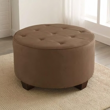 Tufted Round Cocktail Upholstered Ottoman