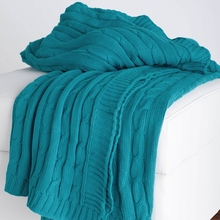 Turquoise Cable Knit Throw Blanket