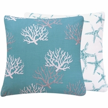 Turquoise Coral Reef Large Throw Pillow