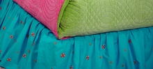 Turquoise Embroidered Bedskirt