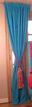 Turquoise Velvet Window Panels with Multicolor Tassels - Set of 2